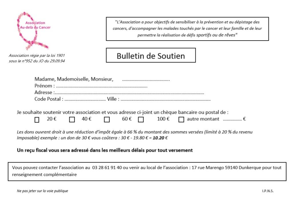 Bulletin soutien 2015 au dela du cancer