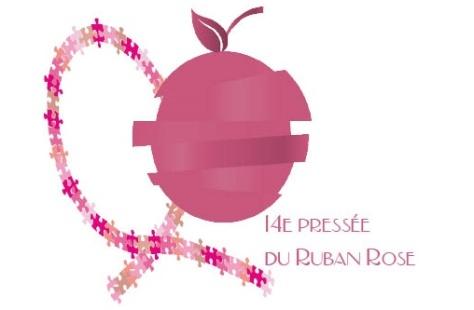logo 14e pressée du ruban rose au dela du cancer